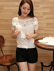 Women's Casual/Daily Street chic Summer Blouse,Solid Round Neck Short Sleeve White Polyester Medium