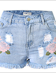 Burvogue Women's Blue High Waist Ripped Hole Denim Shorts Jeans