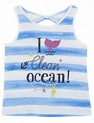 Girl's Blue Vest,Stripes Cotton Summer