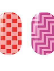 красный / фиолетовый полые наклейки для ногтей