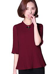 Summer Women's Fashion Pleated Stand Collar 1/2 Sleeves Slim Chiffon Shirt Tops Blouse