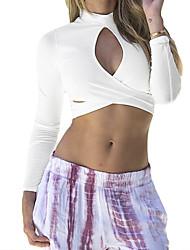 Women Crop Top Cross Keyhole Front Turtleneck Long Sleeve Short T-Shirt