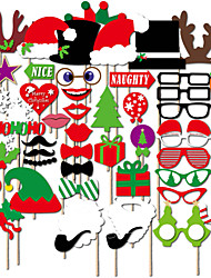 50PCS Christmas Card Paper Photo Booth Props Party Fun Favor