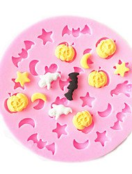 Halloween Pumpkin Moon Star Ghost Bat Silicon Mold Sugar Mold Chocolate Mold Cake Decoration Tool