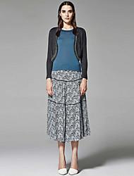 ZigZag® Damen Rundhalsausschnitt Lange Ärmel Shirt & Bluse Dunkelgrau - 11502