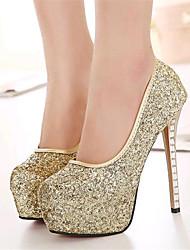 Calçados Femininos-Saltos-Saltos-Salto Agulha-Dourado-Courino-Casamento / Festas & Noite