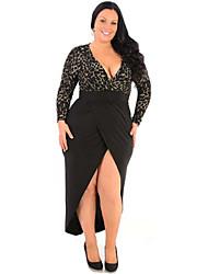 Gaine Robe Aux femmes Soirée / Cocktail / Grandes Tailles Chic de Rue,Mosaïque V Profond Maxi Manches Longues Noir Polyester Eté