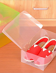4 Pcs Clear Plastic Shoe Storage Transparent Boxes Container Organizer Holder Random Color