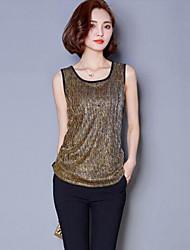 Mulheres Malha Íntima Casual Plus Sizes / Moda de Rua Verão,Patchwork Vermelho / Verde / Dourado / Prateado Algodão Decote RedondoSem