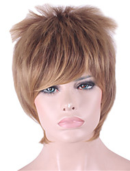 8inch Women Short Straight Synthetic Hair Wigs Side Bang Brown with Free Hair Net