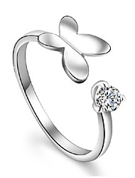 Sterling Silver Ring Butterfly Silver Plated Ring Adjustable Fashion Jewelry for Women