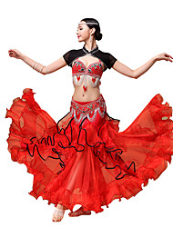 Belly Dance Outfits Women's Performance Chiffon /Rhinestones / Paillettes / Ruffles 3 PiecesBlack / Red /Blue /White