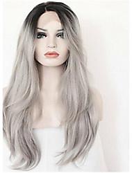 """18 """"-24"""" Ombre парики серый волосы прямые волосы дева средняя часть парики шнурка кружева парики фронта серые волосы человека парики"""