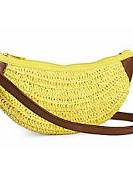 Feminino Palha / Algodão Casual Bolsa de Ombro Amarelo