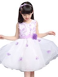 Girl's Summer Cotton Flowers Lace Princess Dress
