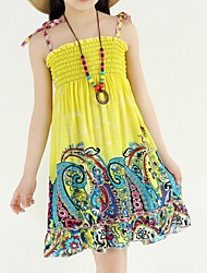 Girl's Red / Yellow Dress,Floral Cotton Summer
