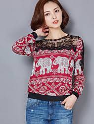 Women's Lace Print Blue / Red / Black Blouse,Round Neck Long Sleeve