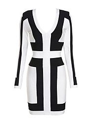 Women's Black and White Graphic Print Bandage Dress