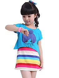 Girl's Pure Cotton Summer New Tide Korean Stripes Tank Top Rainbow Short Skirt Two-piece