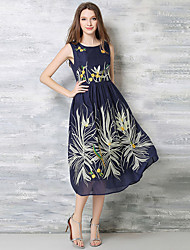 Women's Simple Floral A Line Dress,Round Neck Midi Bamboo Fiber