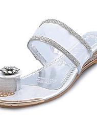 Zapatos de mujer-Tacón Bajo-Anillo Frontal-Sandalias-Exterior / Vestido / Casual-PU-Rosa / Morado / Blanco