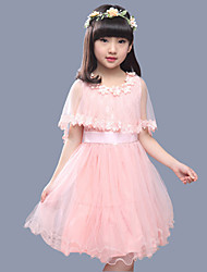 Girl's Cotton Summer Gauze Tippet Lace Dress