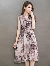 Women's Vintage / Street chic Print A Line / Skater Dress,V Neck Midi Cotton / Linen