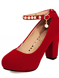 Women's Shoes Leatherette Chunky Heel Heels Heels Wedding / Office & Career / Party & Evening Black / Red