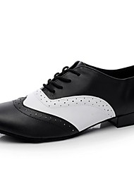 Customizable Men's Dance Shoes Leather Leather Ballroom Flats Flat Heel Indoor Black