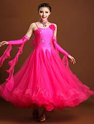 Robes(Fuchsia Rouge Jaune,Elasthanne Tulle,Danse moderne)Danse moderne- pourFemme Cristaux/Stras Fleurs Spectacle Chaussures de Sport