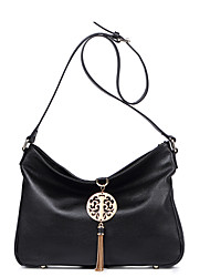 NAWO Women Cowhide Shoulder Bag Black-N153131