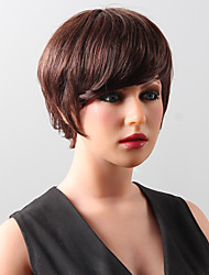 Stylish  Stunning Noble Short Soft  Real Human Hair Wig With Side Bang For Women