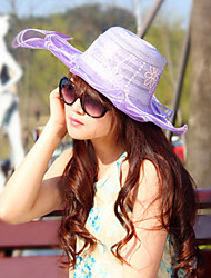 Women Lace / Polyester Flowers Beach Floppy Hat,Cute / Party / Casual Spring / Summer / Fall