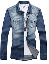 Men's Fashion Plus Size 6XL 7XL Solid Slim Fit Long Sleeve Denim Shirt, Cotton / Polyester/ Casual / Plus Sizes