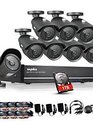 sannce® 8 canales CCTV DVR 960H sistema de 1 TB 8pcs 1000tvl kits de vigilancia de la seguridad casera del ir de mal tiempo al aire libre