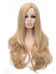 Golden Color Mixture Long Curly Hair Synhtetic Wigs