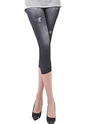 Legging A Motifs / Toile de jean Fin Polyester Femme