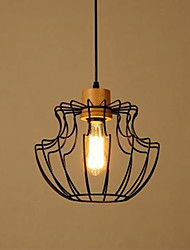 Single Head Wood Iron Chandelier