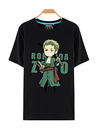 Inspired by One Piece Roronoa Zoro Anime Cosplay Costumes Cosplay T-shirt Print Black Short Sleeve Top