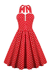 Womens Elegant Polka Dot Vintage Style Swing Rockabilly Party Dress