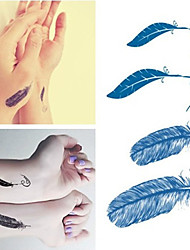 Feather Tattoos Stickers Trendy Waterproof Small  Temporary Tattoos Stickers For Body Art Sleeve Arm
