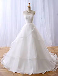 A-line Wedding Dress-Ivory Chapel Train Sweetheart Lace / Organza