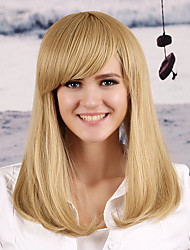 Women's Fashionable Blonde Color Middle Length Straight Synthetic Wigs