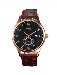 Men's Wrist watch Quartz Calendar Water Resistant / Water Proof Sport Watch Leather Band Brown Brand SINOBI