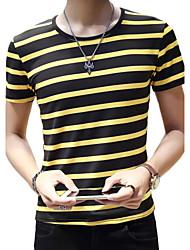 Summer Casual Men's Round Neck Short Sleeve Fashion Striped Cotton Blend Slim T-Shirt Tops
