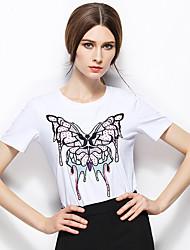 Zishangbaili® Femme Col Arrondi Manche Courtes Shirt et Chemisier Blanc-TX1506