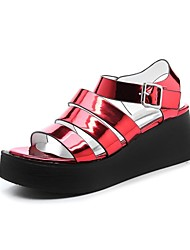 Women's Shoes Synthetic Wedge Heel Peep Toe Sandals Wedding / Office & Career /Party & Evening/Dress/Casual Red/Silver