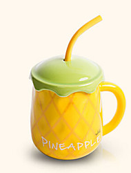 Creative Cute Pineapple Style Drinking Straw Ceramic Mug Cup