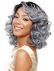 Short Bob Body Wave Fluffy Side Bang Synthetic Hair Wigs Silver Grey Heat Resistant