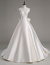 Lanting Bride® A-line Wedding Dress Cathedral Train High Neck Satin / Tulle with Appliques / Beading / Crystal